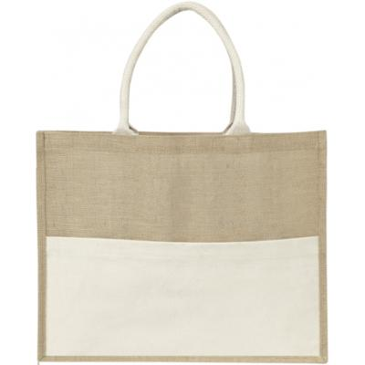 Image of Jute bag with a cotton front pocket.