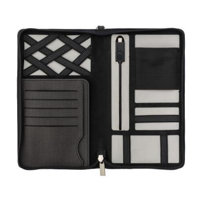 Image of Svepa PU zippered travel wallet with integrated 4000mAh power bank, a front pocket, rubber bands for holding small items, and different pockets, a cable with a 2-in-1 connector suitable for a micro USB and other phones.