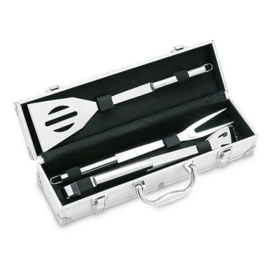 Image of 3 BBQ tools in aluminium case